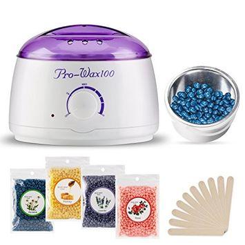 Hair Removal Hot Wax Warmer Waxing Kit Wax Melts Home Wax Kit + 4 Flavors Hard Wax + 10 Wax Applicator Sticks
