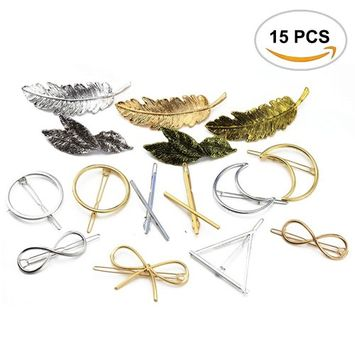 15PCS Oopsu Minimalist Dainty Hair Clips, Bridal Hair Combs For Women, Hollow Alloy Hairpin Hair Clamps, Circle, Triangle, Moon, Leaf, Scissors.