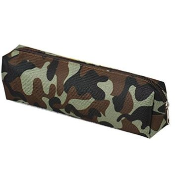 Susenstone Camouflage Pen Bag Pencil Case Pouch Stationery Cosmetic Makeup Bag (Army Green)