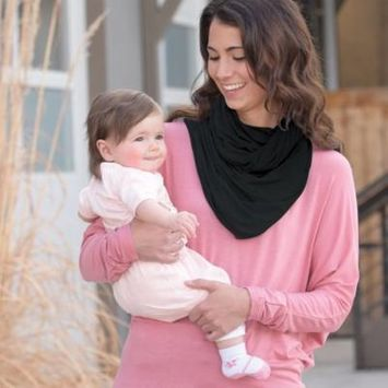 On the Goldbug 4-in-1 Nursing Scarf, Carrier Cover, Shopping Cart Cover, Solid Black