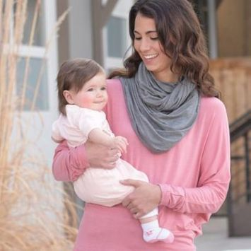 On the Goldbug 4-in-1 Nursing Scarf, Carrier Cover, Shopping Cart Cover, Solid Grey