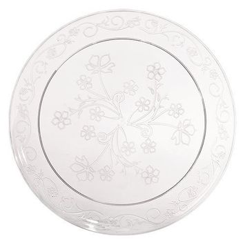 Premium Quality Heavyweight Plastic Plates China Like. Wedding and Party Dinnerware Plastic Plates 20 count, 9 inch, Clear [9 inch Plates]