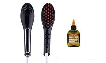 Medex Ceramic LCD Display Brush Straightener with Shea Butter Oil (Black)
