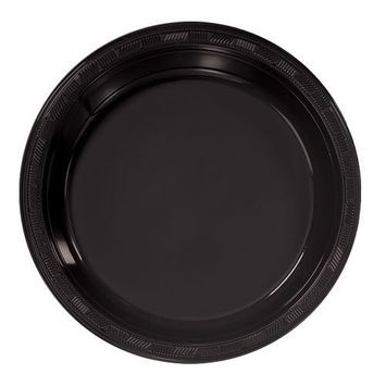 Hanna K. Signature Collection 50 Count Plastic Plate, 9-Inch, Black
