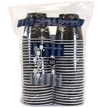 Hanna K. Signature Collection 100 Count Plastic Cups, 9-Ounce, Black