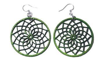 Greentree Jewelry Green Tree Jewelry Dreamcatcher Earrings Kelly Green Wood Wooden Laser Cut #1517