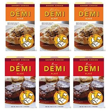 Savory Choice Variety: (3) Chicken & (3) Beef Demi Glace Reduction Sauce Packet 75gr (pack of 6)