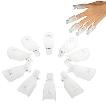 Professional 10pcs Durable Reusable Plastic Nail Art Polish Soak Off Remover Wrap Cleaner Clip Cap Tool (White)
