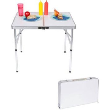 Trademark Innovations Lightweight Adjustable Portable Folding Aluminum Camp Table with Carry Handle