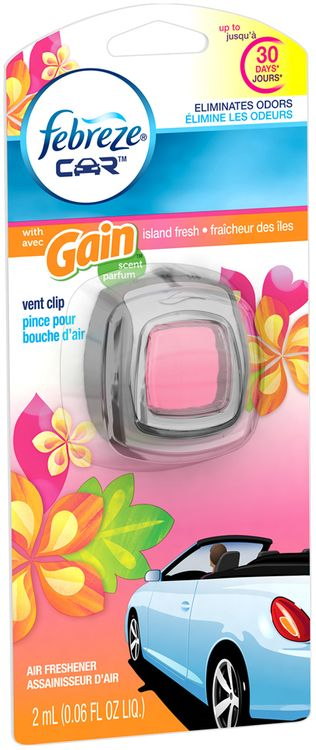 Febreze CAR Vent Clip with Gain Island Fresh Scent Air Freshener (1 Count, )