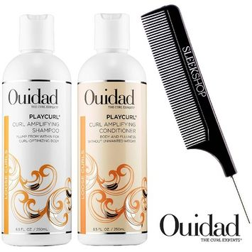 Ouidad PLAYCURL Curl Amplifying Shampoo & Conditioner DUO Set (with Sleek Steel Pin Tail Comb)