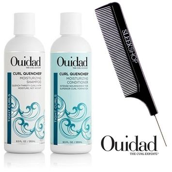 Ouidad CURL QUENCHER Moisturizing Shampoo & Conditioner DUO Set (with Sleek Steel Pin Tail Comb)