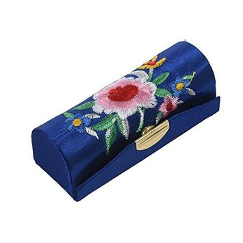 SODIAL Lady Floral Embroidery Mirror Lipgloss Lip Stick Case Jewelry Lipstick Box Holder Dark Blue