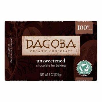 Dagoba Organic Chocolate Unsweetened Dark Chocolate Baking Bar Case of 10 6 oz.