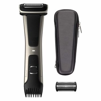 Philips Norelco Bodygroomer BG7040/42 - skin friendly, showerproof, body trimmer and shaver with case and replacement head, silver [With Case and Replacement Head]