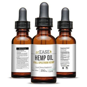 Pure Hemp Oil by atEase Naturals: Full Spectrum Peppermint Flavored 250mg Calming Sleep Aid Seed Extract - Raw Cold Pressed Oils Aids Anxiety Relief Arthritis Inflammation & Joint Pain