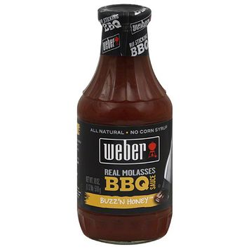 Weber Buzz'n Honey Real Molasses BBQ Sauce, 18 oz, (Pack of 6)