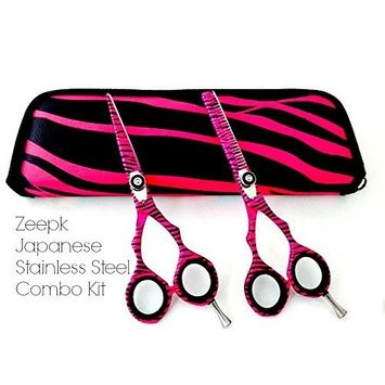 Hair Cutting Shears Hairstyling shears Combo Kit Cosmetology School Shears Pink Zebra Color Barber Shears Beauty Shears set Convex Edge Right Handed Shears For Students by Liberty Supply