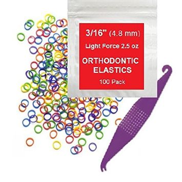 3/16 inch Orthodontic Elastic Rubber Bands 100 Pack Neon Light Force 2.5 oz Small Rubberbands make bows Dreadlocks Dreads Doll Hair Braids Horse Mane Tail Fix Tooth Gap Top Knots FREE Elastic Placer for braces