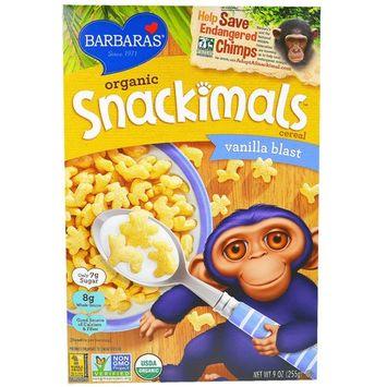 Barbara's Bakery, Organic Snackimals Cereal, Vanilla Blast, 9 oz (pack of 12)