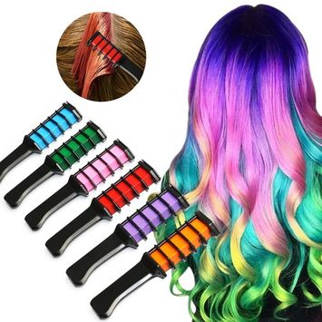 Hair Chalk Comb, XIAO MO GU 6 Piece Metallic Glitter Temporary Hair Color Edge Chalkers Built in Sealant Upgrade Non-Toxic Rainbow Colored for All Hair Colors