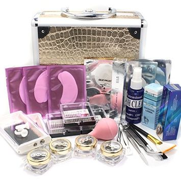 Deluxe Gold Case 25 in 1 Professional Eyelash Extension Mink False Eye Lash Lashes Glue Removal Mascara Full Kit Super Set with Fashion Gold Hard Box Suitcase A158