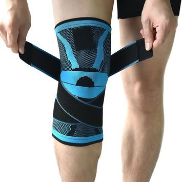 Knee Brace,Compression Knee Sleeve,Non-slip Adjustable Knee Braces Wraps with Pressure Strap and Knee Protector for Running,Sports,Joint Patella Pain Relief,Arthritis and Injury Recovery- Single [Medium: 14.5'-17']