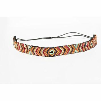 Rainbow Tri Color Beaded Thin Headband. Indian Princess Bohemian Style Headband. Elastic Band to Fit Any Size Head. Comes with Look Guide to Show You Many Styles.