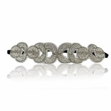Bridal or Gatsby Crystal Rhinestone Diamond Headband Adjustable Non-slip Comfortable for Wedding