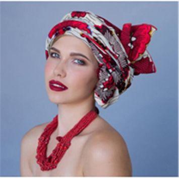 Turban Diva-335-02 Wax Print Africian Turban Head Wrap-Red Creme Black