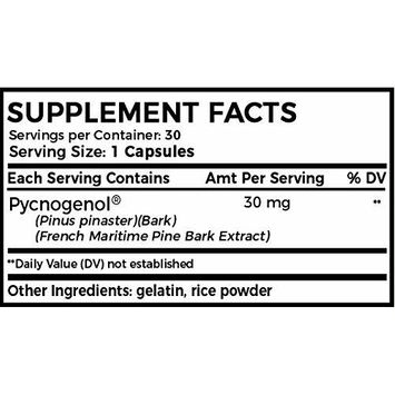 Natural Pycnogenol Capsules - French Maritime Pine Bark Extract for Maintaining Healthy Glucose Levels, Aids Skin Health & Supports Athletic Performance