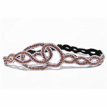 Purple Bridesmaid Bridal Wedding Rhinestone Beaded Headband / Adjustable Elastic Stretch Band / Bridesmaid Hair Style Guide