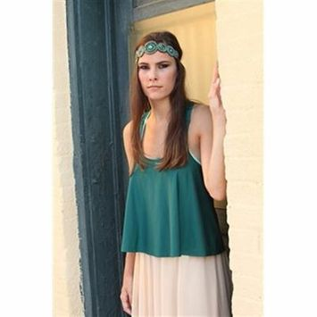 Turquoise Blue and Cream Stone Beaded Headband Elastic Stretch Headwrap with Style Guide 20 Differnt Ways to Wear by LAC Beauty