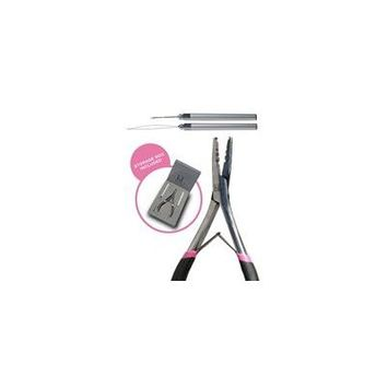 Professional Hair Extension Pliers For Faster Application and Removal Of I Tip or Micro Beads Hair Extensions Includes Organizer Box For Easy Storage, Micro Pulling Needle & Loop Threader Included