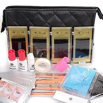 Ships From CA, USA 15 IN 1 Pro Semi Permanent Individual Eyelash Extensions C Curl Eyelahes Lashes Graft Glue Tweezers Cleansing Lotion Tools Case Bag Kit Set