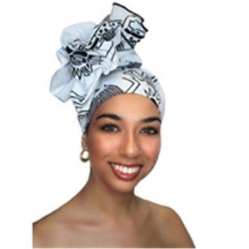 Turban Diva-335-36 Wax Print Africian Turban Head Wrap-White Tribal Cotton