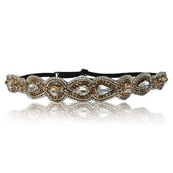 Hand Made Wedding Campaign Bridal Crystal Headband with Adjustable Strap. Style Guide Included.