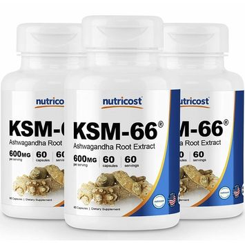 Nutricost KSM-66 Ashwagandha Root Extract 600mg, 60 Veggie Caps (3 Bottles) - High Potency 5% Withanolides - with BioPerine - Organic Full-Spectrum Root Extract