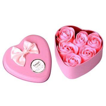 Iuhan 6Pcs Heart Scented Bath Body Petal Rose Flower Soap Wedding Decoration Gift Best