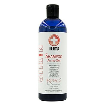 Keys KPRO Silkin Shampoo 100% Natural, Vegan, Chemical-Free, All-in-One Deep Cleansing Conditioning Rich Lather Treatment for All Hair Types, Professional OptiFX Adaptive Color Technology, 16 ounces