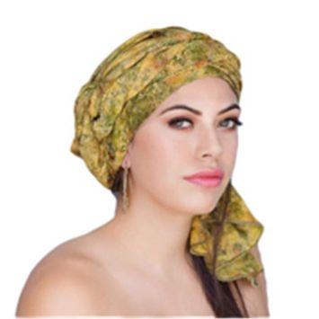 Turban Diva-334-01 One Piece Rayon Batik Turban Head Wrap-Olive Floral