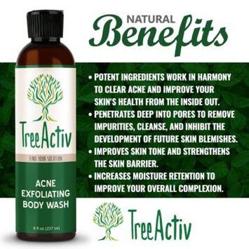 TreeActiv Acne Exfoliating Body Wash | Natural Treatment for Back, Chest, Shoulder and Butt Acne Removal | Men, Women, Teens | Sulfur | Calamine | Castile Soap | Tea Tree Oil | Skin Care | 8 fl oz