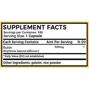 Ahana Nutrition Rutin 500mg Capsules - Antioxidant Rich Rutin Supplement to Support Vascular Health and Aid Absorption of Vitamin C (100ct)
