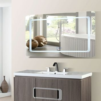 Bellaterra Home 48 in. Rectangular LED Bordered Illuminated Mirror with Bluetooth Speakers [assembled_product_width: assembled_product_width-48.00