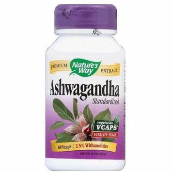 Nature's Way Ashwagandha Standardized Vegetarian Capsules 60 ea (Pack of 2)