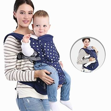 Versatility Soft Baby Carrier Backpack with Hip Seat, 1.5L Large Storage Bag and Detachable Hood, Airflow Window, Padded Shoulder Straps, Weight Support up to 40 lb - Blue