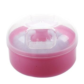 SODIAL Mini Portable Baby Soft Face Body Cosmetic Powder Puff Sponge Box Case Container Pink