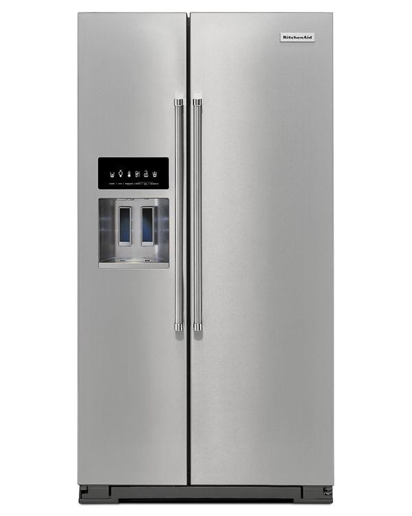 KitchenAid KRSF505ESS 25.6 cu. ft. Side-by-Side Refrigerator with 8 Glass shelves, 8 Door Bins, Gallon Door Storage, Measured Water Fill, Preserva Food Care System and LED Lighting: Stainless Steel