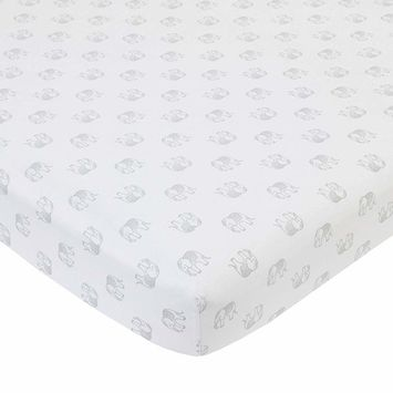 NoJo Serendipity Grey Elephant Print 100% Cotton Fitted Crib Sheet, White/Grey