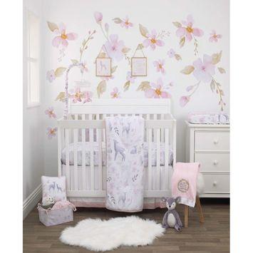 Watercolor Deer 4-Piece Crib Bedding Set